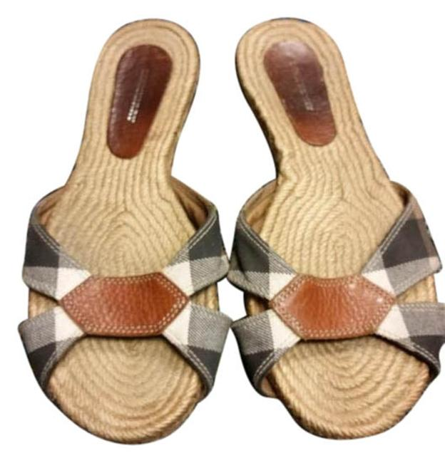 Item - Beige and Brown Plaid Flats Pattern Mules/Slides Size US 8 Regular (M, B)