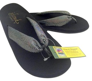 Island Slippers Pewter Glitter/black Sandals