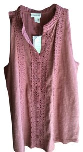 Anthropologie Button New With Tags Top Rose/brown