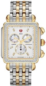 Michele NEW Michele Deco Diamond XL 2 Tone Gold MWW06Z000013 Ladies Watch
