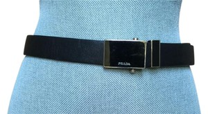 Prada Prada black leather belt w/square silver trim buckle