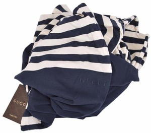 Gucci New Gucci Women's 378694 Blue Cream Striped Cotton Logo Scarf