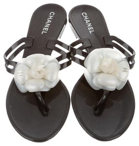 Chanel Jelly Camellia Black Sandals