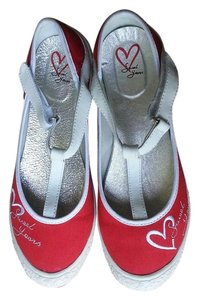 Sweet Years Flat Italian Comfortable Red and White Flats
