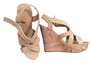 Cathy Jean Heels nude and cork Wedges