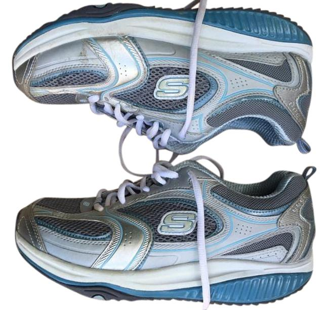 Item - White/Gray/Blue Shape Ups Sneakers Size US 8.5