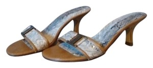 Cultured Soles Faux Snakeskin Tan/White/Gray Sandals