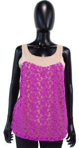 Ann Taylor Lace Sleeveless Scoop Neck Floral Top Purple