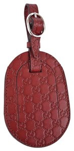 Gucci Gucci Burgundy Leather Micro Guccissima GG Logo Luggage Travel ID Tag