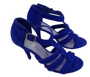 Pour La Victoire Dark High Heeled Excellent Condition Worn Only Once Cobalt Blue Suede Sandals