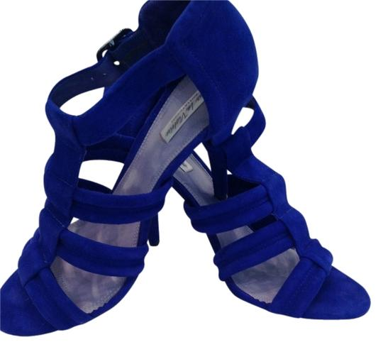 Pour La Victoire Dark High Heeled Excellent Condition Worn Only Once Cobalt Blue Suede Sandals Image 1