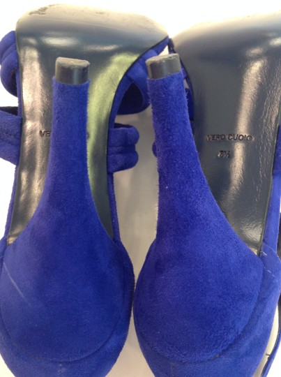 Pour La Victoire Dark High Heeled Excellent Condition Worn Only Once Cobalt Blue Suede Sandals Image 10