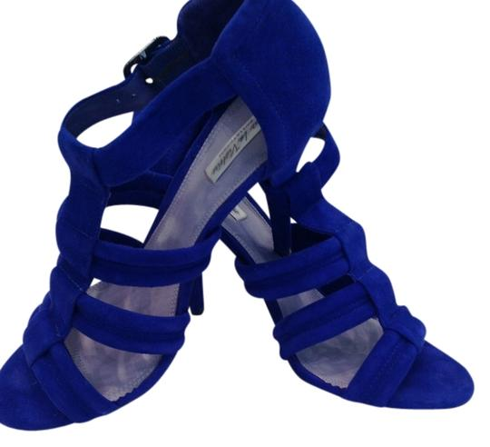 Pour La Victoire Dark High Heeled Excellent Condition Worn Only Once Cobalt Blue Suede Sandals Image 2