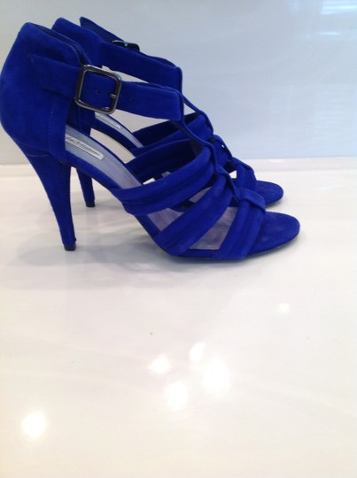 Pour La Victoire Dark High Heeled Excellent Condition Worn Only Once Cobalt Blue Suede Sandals Image 3