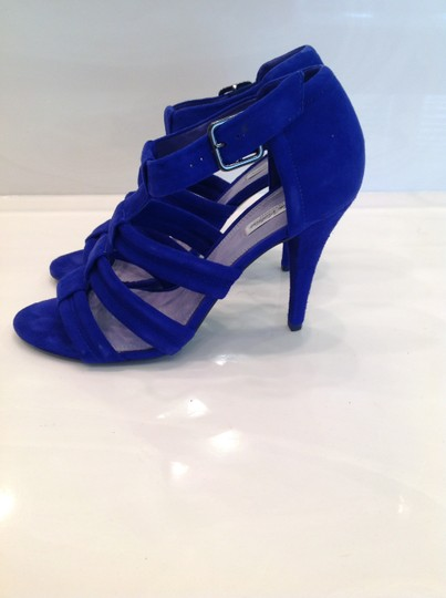Pour La Victoire Dark High Heeled Excellent Condition Worn Only Once Cobalt Blue Suede Sandals Image 5
