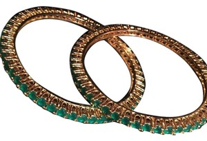 Gold over brass Pakistani jewelry Gold Plated Bracelet Pair - Emerald Like Stones