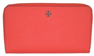 Tory Burch New Tory Burch Poppy Red Saffiano Leather Zip Continental Wallet