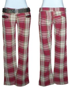 Electric Barbarella Flare Pants Red Plaid