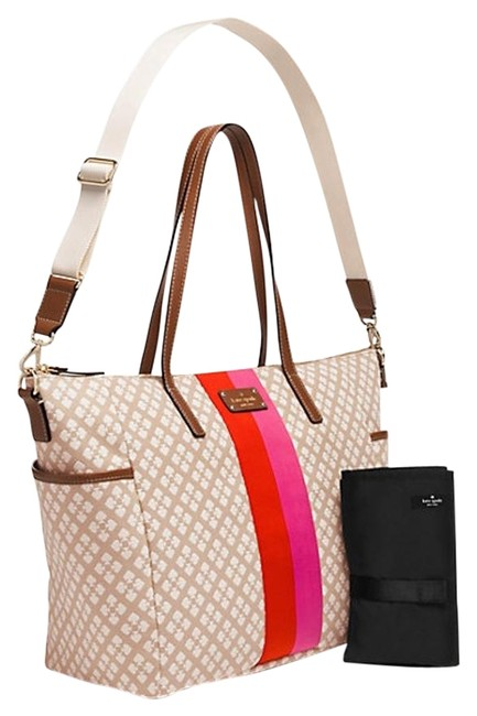 Item - Classic Adaira Msrp Stucco Cream Pink Red Canvas with Leather Trim Diaper Bag