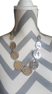 Chico's Chico's Silver Battered Circle Plate Necklace