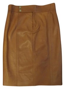 Ralph Lauren Black Label Lambskin Leather Nwt $1690 Pencil Skirt Chestnut Brown
