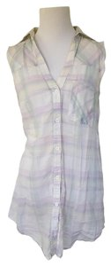 Zara Striped Sheer Breezy Cover Up Button Down Shirt Pastels - Purple, Blue, Yellow, White