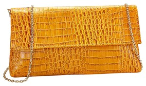 Other Snakeskin Yellow Mustard Gold Clutch