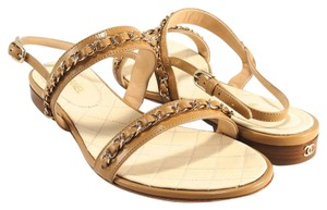 Chanel Chain Flats 41 beige Sandals
