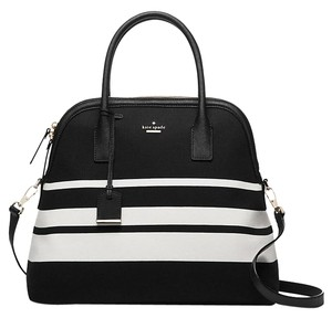 Kate Spade Cameron Street Margot Black & White Stripe Black Leather Gloves Satchel in Black/White