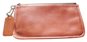 Coach Leather Logo Vintage British Tan Clutch