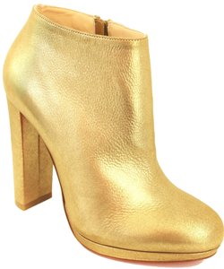 Christian Louboutin Rock& 120mm Metallic Leather Chunky Heel Ankle 36 6 Gold Boots