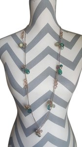 Chico's Chico's Long Bronze Necklace with Green Stones