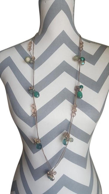 Item - Green Long Bronze with Stones Necklace