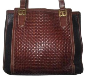 Bally Dressy Or Casual Timeless Style Great Condtion Lots Of Pockets/room Popular Style Satchel in dark brown woven & black leather