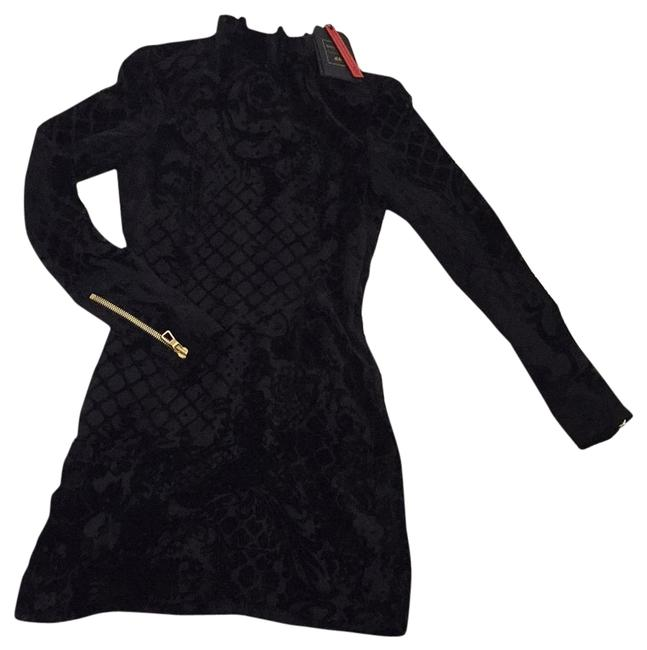 Item - Black with Gold Detail Hm Above Knee Night Out Dress Size 6 (S)