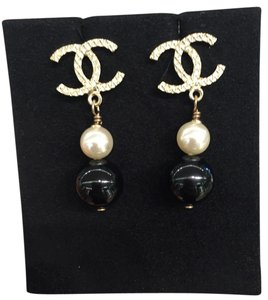 Chanel Chanel Large CC Golden / Black /Pearly White Drop Earrings