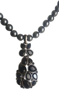 Swarovski Swarovski Gray Pearl Necklace with Black Stone Pendant