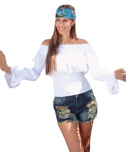 Lirome Boho Casual Summer Cottage Chic Top White