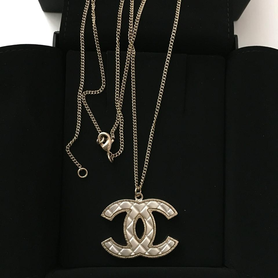 Chanel Chanel Large Iconic Cc Gold Mother Of Pearl Quilted Classic Necklace