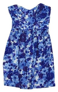 Shoshanna short dress Blue Floral Silk Strapless on Tradesy