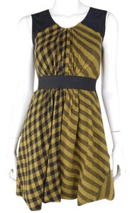 Yigal Azrouël Cashmere Sleeveless Gold Plaid Dress