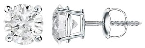 Round Earrings Screw On 14k White Gold 1.50 Ct Lab Diamond Studs
