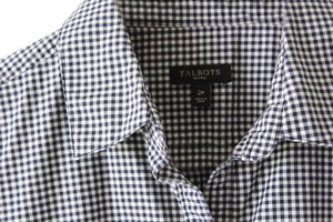 Talbots Ginham Sleeveless Blouse Navy Checkered Button Down Shirt navy/white check