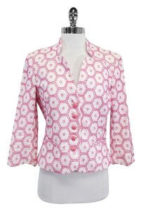 MILLY Pink White Cotton Eyelet Jacket