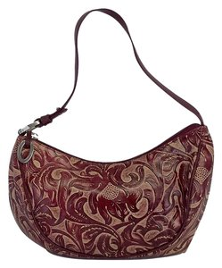 Oscar de la Renta Red Embossed Leather Purse Hobo Bag