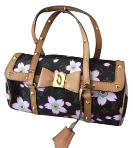 Louis Vuitton Satchel in Limited signature print with pink flowers