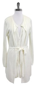 Elie Tahari Cream Linen Long Long Cardigan