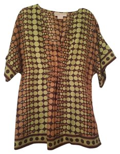 Michael Kors #blouse #dot #lime #brown #silk Top Lime, Tan, Brown