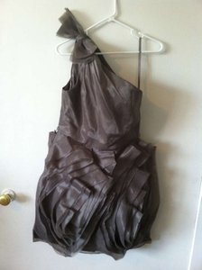 Vera Wang Charcoal Organza Formal Bridesmaid/Mob Dress Size 8 (M)