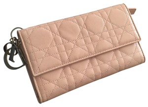 Dior classic cannage quilted lambskin french wallet pale pink